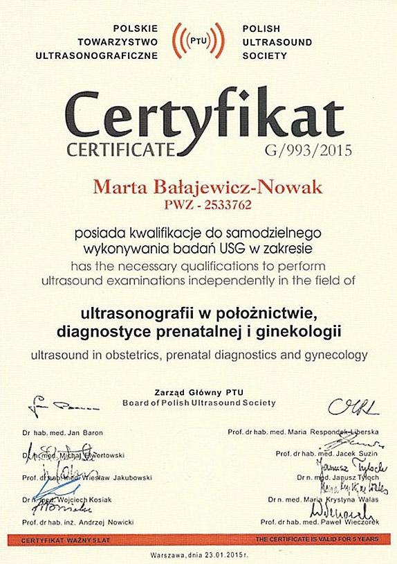 dr Marta Bałajewicz-Nowak Cetyfikat USG