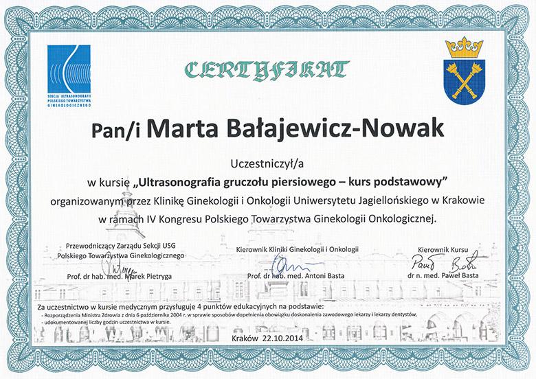 dr Marta Bałajewicz-Nowak Cetyfikat USG piersi