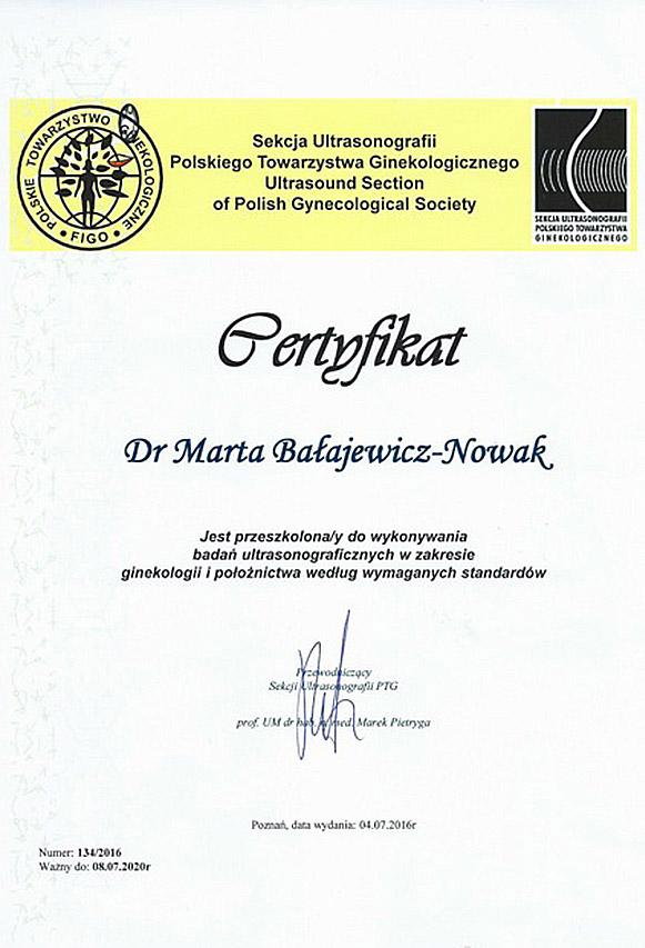 dr Marta Bałajewicz-Nowak Cetyfikat USG ginekologia
