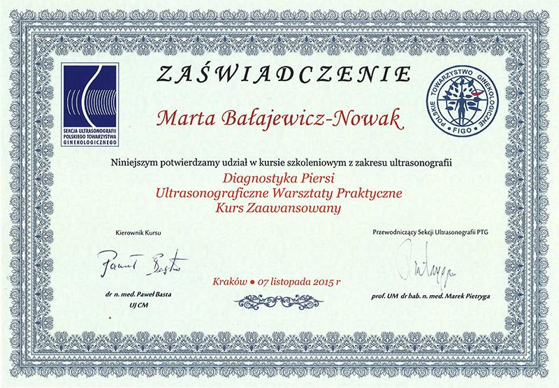 dr Marta Bałajewicz-Nowak Zaświadczenie USG