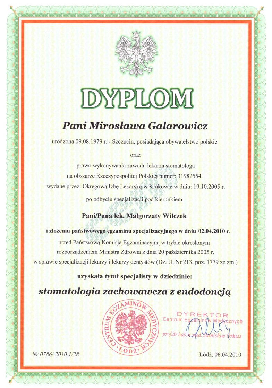 lek.stomatolog Mirosława Galarowicz dyplom