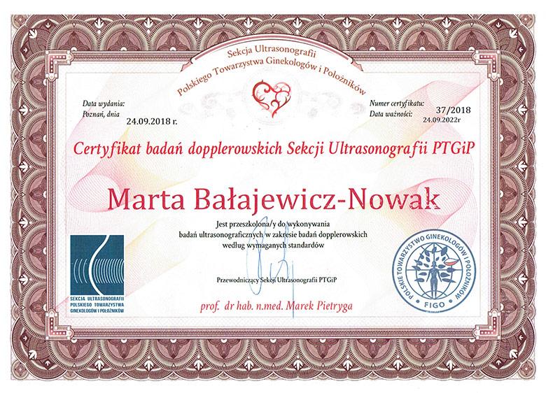 Certyfikat badania dopplerowske