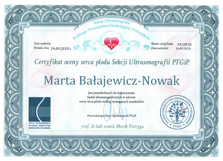 Certyfikat badań serca płodu