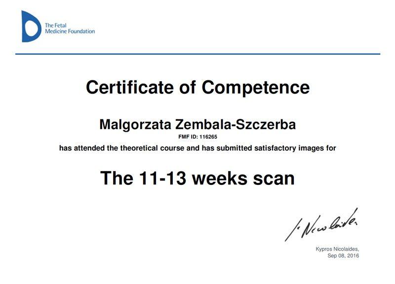 Małgorzata Zembala-Szczerba Certyfikat