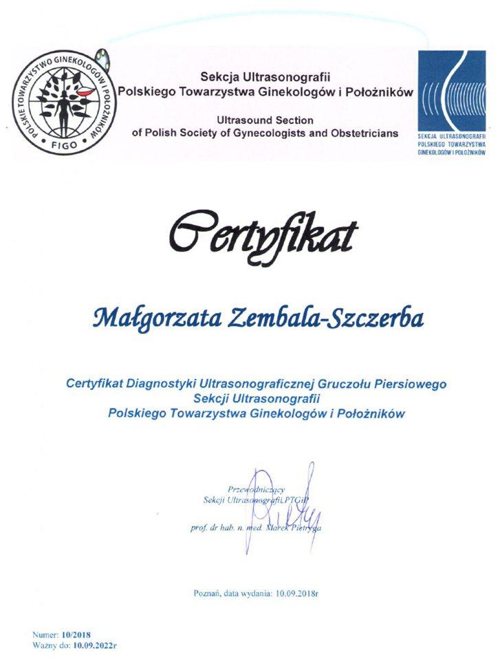 Małgorzata Zembala-Szczerba Certyfikat Ultrasonografii
